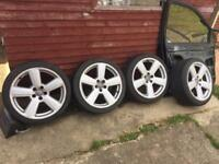 "AUDI 18"" RS6 STYLE ALLOY WHEELS AND GOOD TYRES"
