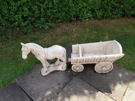 Concrete HORSE & CART GARDEN FEATURE