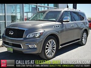 2015 Infiniti QX80 7-Pass | Navi, Sunroof, Leather Htd Seats