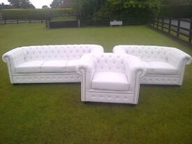 Brand New White Bycast Leather Chesterfield Diamante 3 Piece Suite.
