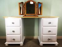 Vintage solid pine dressing table or desk farmhouse free delivery