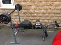 Weight bench with lots of weights