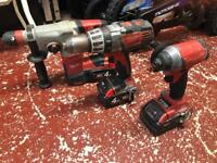 3 Milwaukee Drills (Combi, SDS & Impact)