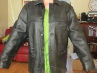 Giorgio Armani Men's Leather Jacket Coat, Armani Jeans, Size XL (approx)