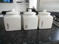 White Tea, Coffee and Suger Jars in excellent condition
