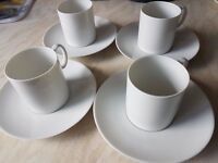 4 coffee cups & saucers