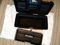 FOUR TOOLBOXES 1 TOOL TRAY/STANLEY MAKE/TWO ARE STEEL CANTILEVER TRAYBOXES.AS LOT OR INDIVIDUALLY.