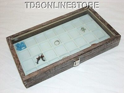 Rustic Coffee Color Glass Top Display 32 Slot For Jewelry Etc White