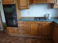 Fitted Moben kitchen with integrated Neff appliances, new and unused built in oven and microwave.