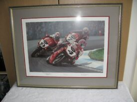 FRAMED PRINT OF CARL FOGARTY, THREE DUKES