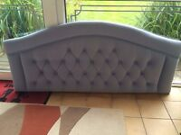 Blue velour padded headboard for double bed (never used)