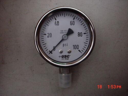 2 1/2 Inch  AMETEK U.S. Gauge  0-100 PSI Stainless Steel