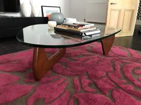 Walnut Effect Glass Top Coffee Table