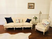HANDMADE, FRENCH ANTIQUE 3-seater SOFA with matching ARMCHAIR by Susan Osbourne