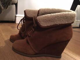Office brown wedge ankle boots size 5