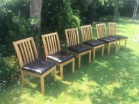 John Lewis Oak Dining Chairs x 6