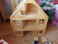 Wooden Play House (Dollhouse) and accessories