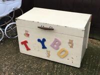 Vintage wooden toy box chest blanket box