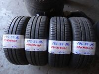 set of 4 matching 195 55 16 MICHELINS 6-7mm tread £100 set sup & fitd OPN 7-DYS **txt tyre size to 0