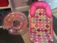 Baby bath seat and neck ring