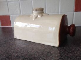 Vintage Stoneware Glazed Hot Water Bottle.