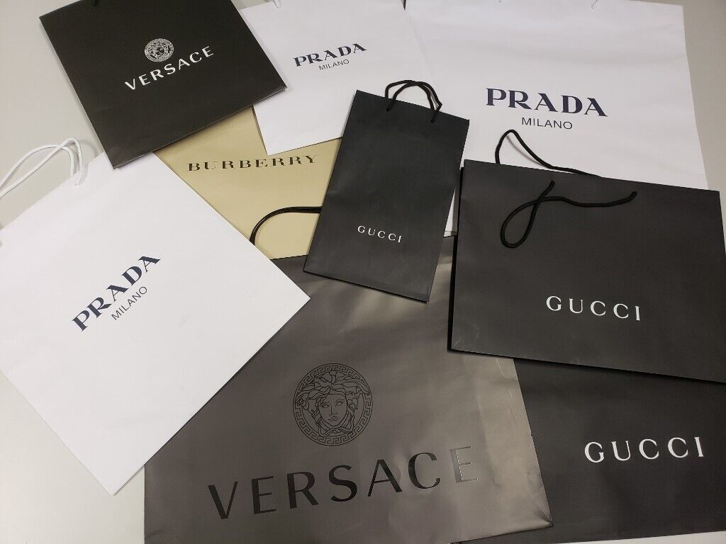 12f58c6fc0fc Gucci Prada Paper Shopping bags Retail Carrier bags and more Designers paper  bags