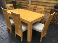 Oak Dining Table & Six Chairs.