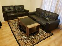Leather 2 seater sofa, couch X2 with coffee table and rug