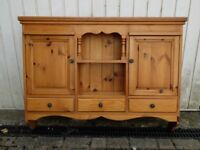 Solid pine wall shelf + cupboard unit, 110 x 87 x 20 cm
