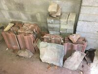 Spare Roof tiles and mixed brick work