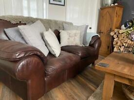 Saddle Leather Three Seater Sofas X 2 and Matching Two Seater/Snuggle sofa