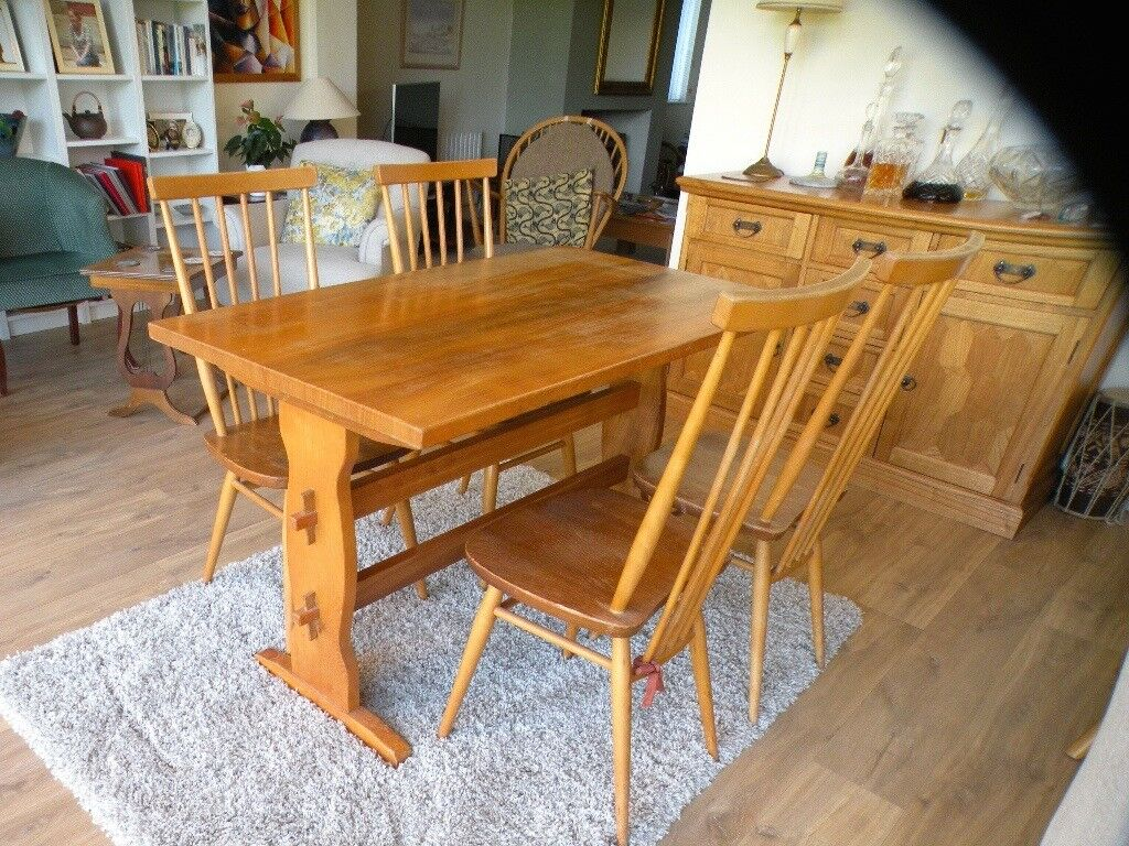 Set Of 4 Vintage Ercol Dining Chairs Model 608 And Matching Solid Elm Refectory Table