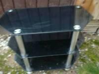 TV stand smoked glass chrome legs