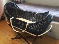 Baby Moses Basket INCLUDES stand, made in the UK, lovely condition
