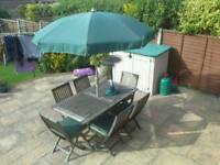 Garden patio set, table, chairs and umbrella