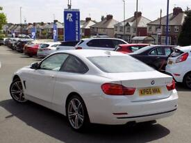 BMW 4 SERIES 420D SPORT 2dr AUTO (190) * 19in Alloys + Red Leather + Nav * (white) 2015