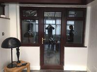 french door and side window's upvc mahogany