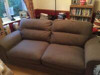 Large grey, solid oak feet sofa (3 seater)