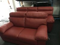 ScS New/Ex Display Red Leather 3 Seater + 2 Seater Sofas