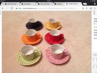 Classic Coffee and Tea Company spotty teacup and saucer set