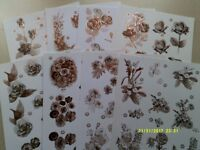 CRAFT / CARD MAKING MONOCHROME FLORAL DECOUPAGE SHEETS