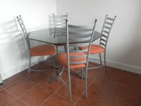Vintage 1970's ?Pieff? Smoked Glass Octagonal Table & 4 Ikea chairs