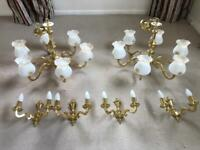 Candle Style Chandelier Light Fittings and Matching Wall Fittings