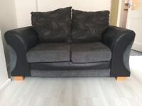 2 Seater Grey and Black Sofa