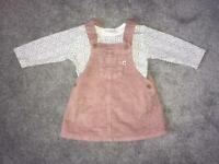 Next baby girls cord dungaree dress and vest outfit 3-6 months