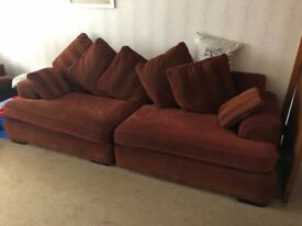 Burgundy 4 seater sofa and 2 chairs