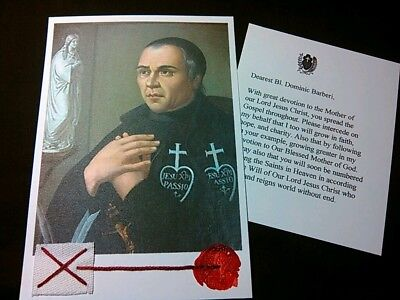 Bl.DOMINIC BARBERI of the Mother of God Holy Card + Relic & prayer