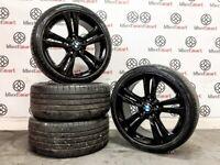 "GENUINE BMW 19"" ALLOY WHEELS & TYRES - 5 x 120 - CRYSTAL BLACK - 376"