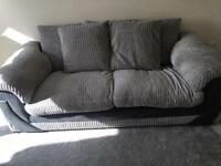 Grey 3 seater cord sofa