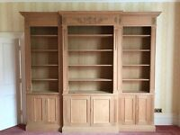Distressed pine XL book case / display cabinet